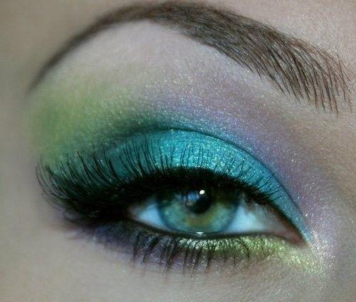 teal, lime, aqua and lilac mermaid eye make up #makeup #eyes #eyeshadow by dee