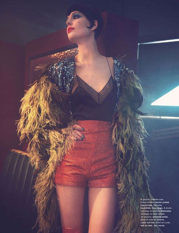 editorial for the August 2013 issue of Numero Magazine turns supermodel Elisabeth Erm into Liza Minelli of the 1960s. 70s Musical 'Cabaret'