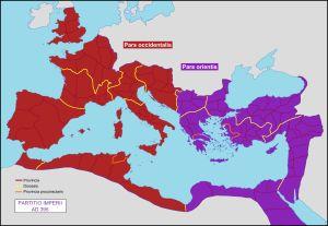 Roma'nın İkiye Bölünmesi: 395 yılında İmparator Theodosius, Büyük Roma İmparatorluğu'nu; oğulları Honorius (Batı Roma) ve Arkadius (Doğu Roma) arasında paylaştırır. Bu günden sonra Konstantinopolis (Istanbul) Doğu Roma'nın başkenti oldu.