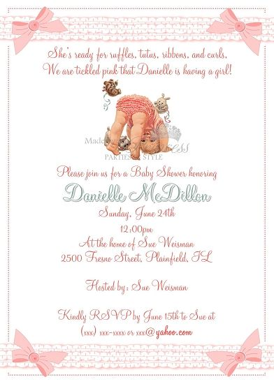 Vintage Ruffle Butt Little Girl Baby Shower Invitation  Made by a Princess Parties in Style