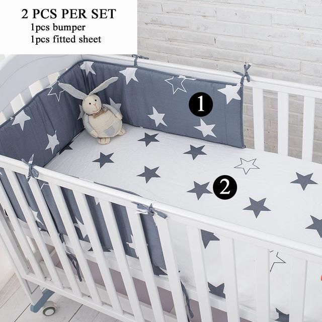 Muslinlife Star Bedding Set,Multi-functional Baby Safe Sleeping Baby Bed Bumpers Set