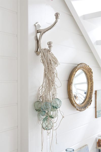 Interior walls are often plain white with just a hint of softness to them – try Dulux Natural White.  Wall panelling is also very Hamptons chic, even in bathrooms  Love this wall colour