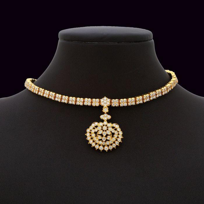 Diamond Addigai 137asa938 Vummidi Bangaru Jewellers Real Diamond Necklace Diamond Necklace Designs Diamond Jewelry Necklace