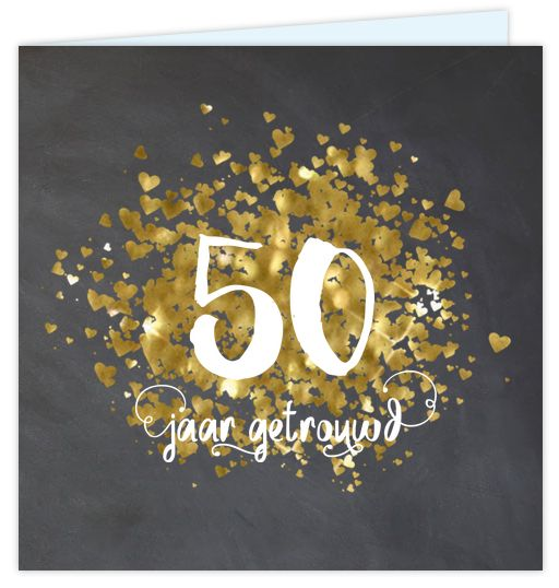 Eerdaags jullie 50 jarig huwelijks jubileum feest geven? Unieke uitnodiging met gouden glitter look (geen echt goud inkt) krijtbord print en sier letters. Geheel zelf aan te passen. Gratis verzending in Nederland en België.