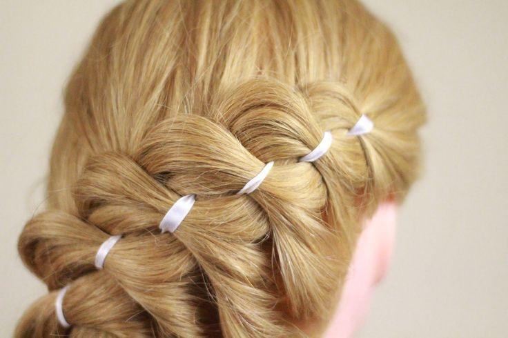Урок по плетению косы из 4 прядей (с лентой). 4 Strands braiding (with r...