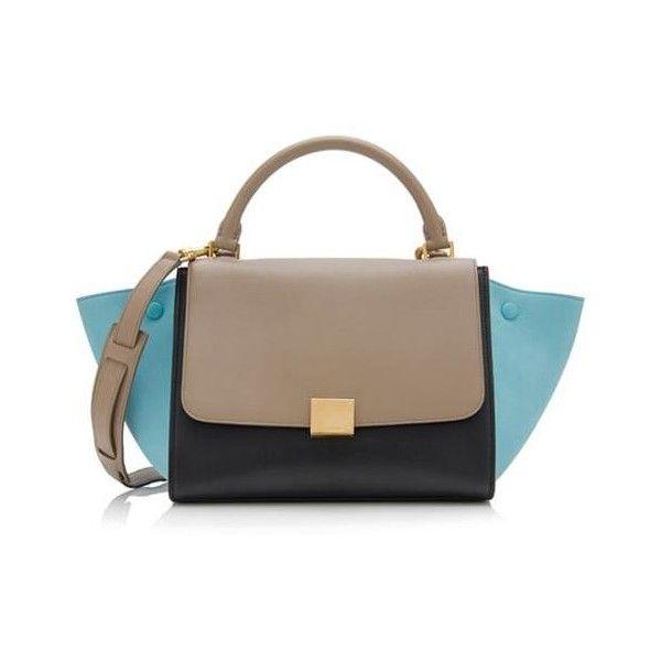 Rental Celine Tricolor Calfskin Small Trapeze Bag ($300) ❤ liked on Polyvore featuring bags, handbags, beige, celine bag, colorful handbags, zipper purse, zipper handbags and celine purse