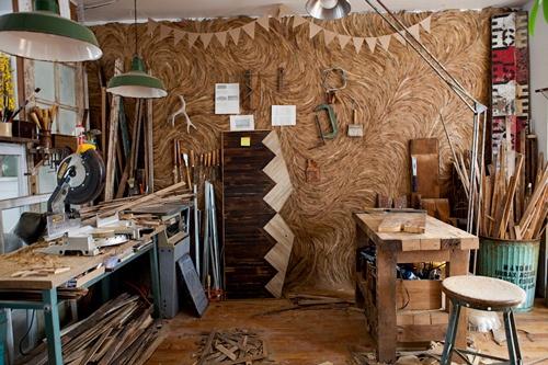 wood working studio & gorgeous Eucalyptus leaf wall 7ARIELE - Design Sponge