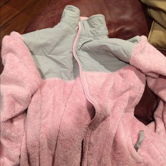 Girls north face Pink and grey, fuzzy, girls medium The North Face Jackets & Coats