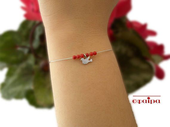 Sterling Silver bird bracelet Real Corals Handmade sterling