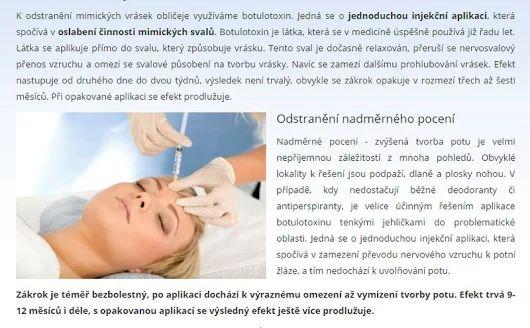 Botulotoxin >>> https://www.medicalinstitut.cz/esteticka-dermatologie/botulotoxin  Účinná redukce vrásek způsobených stárnutím, ale i vrásek mimických a léčba nadměrného pocení. Zaměřujeme se na přirozený vzhled pacienta po zákroku, odborný profesionální přístup a špičkové materiály.