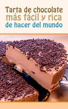 :) Tarta de chocolate más fácil y rica de hacer del mundo | Más en https://lomejordelaweb.