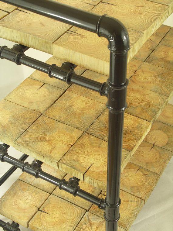 Industrial shelves Loft shelving unit gas pipes by FreeTreeStudio