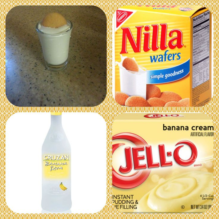 Banana Pudding Shots 1 small Pkg. banana cream instant pudding 3/4 Cup Milk 3/4 Cup Banana rum 8oz tub Cool Whip  Mini or crushed Nilla Wafers for garnish.  Directions 1. Whisk together the milk, liquor and instant pudding mix in a bowl until combined. 2. Add cool whip a little at a time with whisk. 3.Spoon the pudding mixture into shot glasses, disposable 'party shot' cups or 1 or 2 ounce cups with lids. Place in freezer for at least 2 hours. Garnish with Nilla Wafers