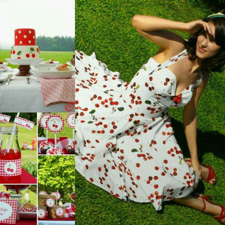 Cherry picnic wedding cherry Rockabilly wedding dress @ticciclothes