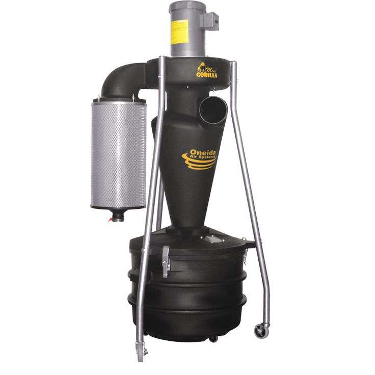Portable cyclone dust collector unit molded from lightweight, industrial static conductive resin. Includes drum with viewing port, mobile stand, True-HEPA Media filter, easy-clean hookup port, and more!