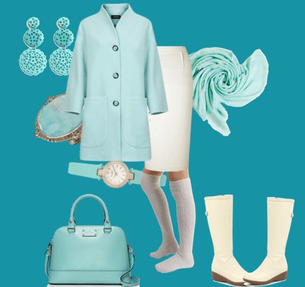 Белые гетры, сапоги, пальто, сумочка, шарф, наручные часы, кольцо, серьги