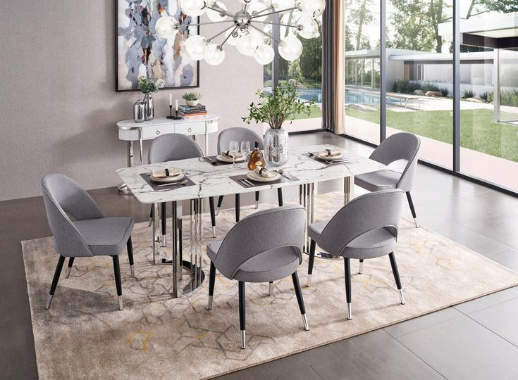 Esf E131 Silver Marble Dining Table In Luxury Sty Dining E131 Esf Luxury Marble Silver St Dining Table Marble Modern Dining Room Set Modern Dining Room