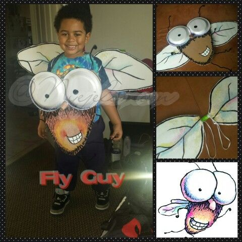 Storybook character day at school. Fly guy homemade costume. Materials: cardboard, styrofoam plates, markers, ink pen, paint, wire cleaners, hot glue, poster board, scissors, box cutter, elastic & yarn...