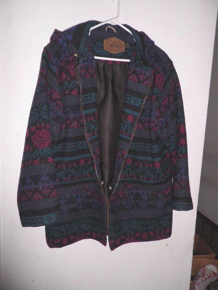 Women' Woolrich Hooded Southwestern Blanket Jacket Size L #Woolrich #BasicCoat