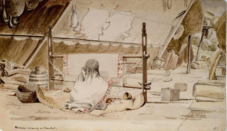 Tessendo una Coperta. Una donna saanich tesse una coperta di peli di cane ad un telaio, all'interno di una loggia estiva di stuoie. L'artista dipinse questo acquarello durante una visita al villaggio dei Saanich, oppure approfittando della visita di questo gruppo a Fort Victoria. Questo e altri schizzi sono inseriti nel dipinto 'Interno di una Loggia dei Coast Salish'.