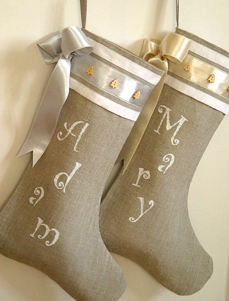 Shabby chic Personalized Burlap Christmas stocking. $42.00, via Etsy.