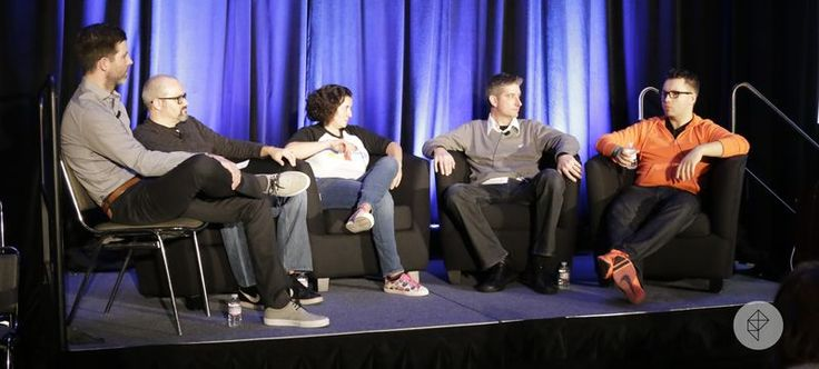 The panel was moderated by Digital River's Scott Davis, at left. Panelists included Matthew Cook, co-Founder of Panopticon Laboratories; Lee Gould, director of global fraud management at Sony; Scott Williams, senior fraud product manager at Digital River; and Tiny Build's Alex Nichiporchik.