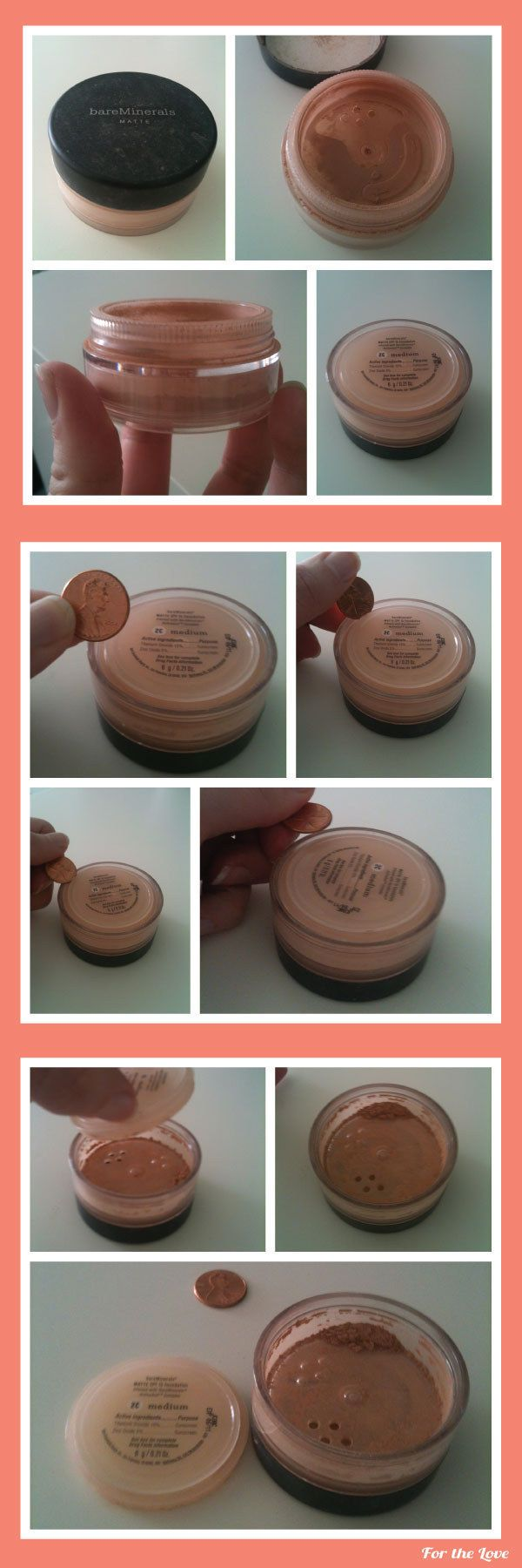 Use a penny to get every last bit out of your mineral makeup.