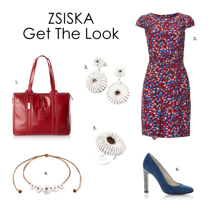 Colorful office outfit! 1.Bag: Piquadro, 2.Earrings: ZSISKA Pure 3.Dress: McGregor 4.Necklace ZSISKA Pure 5.Ring: ZSISKA Pure 6.Pumps: Yellow Mellow