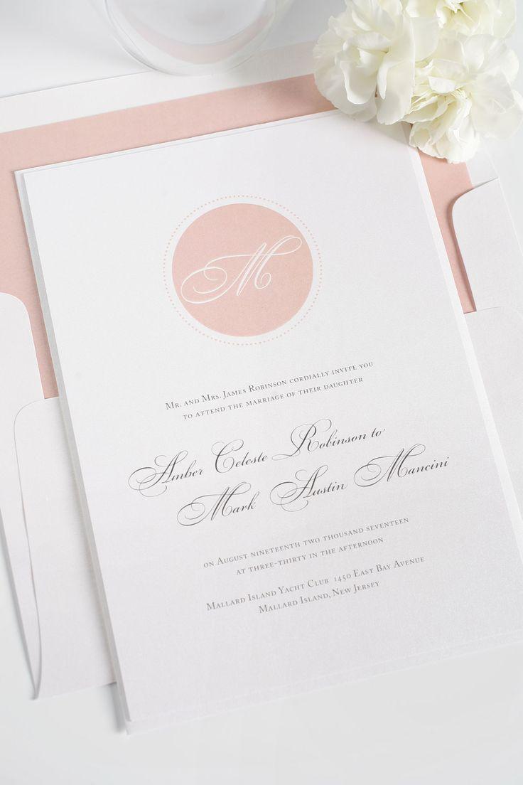 paper style wedding invitations%0A Blush circle monogram wedding invitations   Shine Wedding Invitations