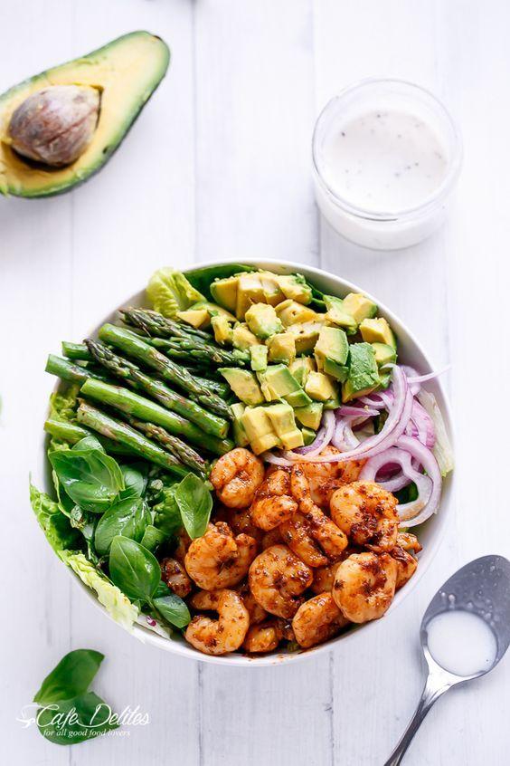 Blackened Shrimp Asparagus and Avocado Salad with Lemon Pepper Yogurt Dressing