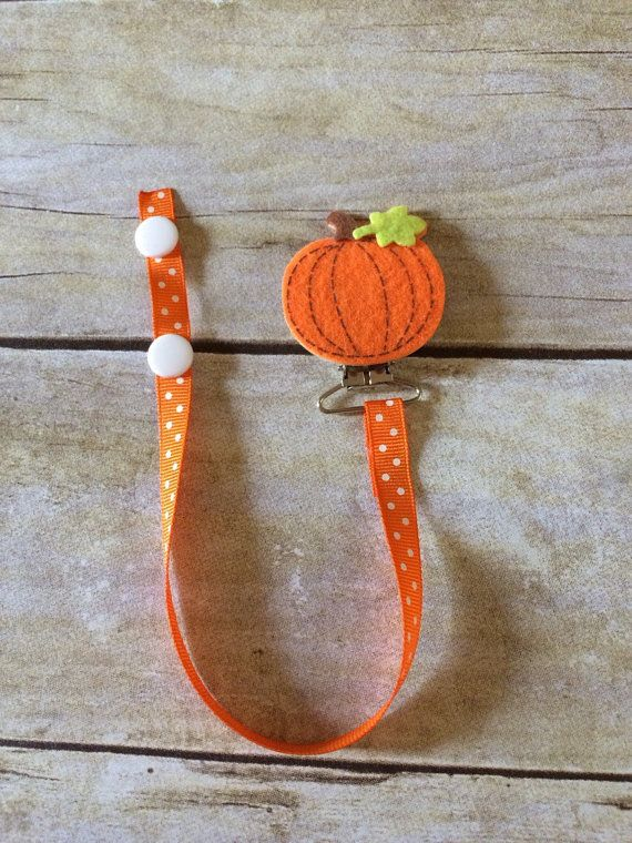 Pumpkin Halloween Pacifier Clip by WyattsPlace on Etsy
