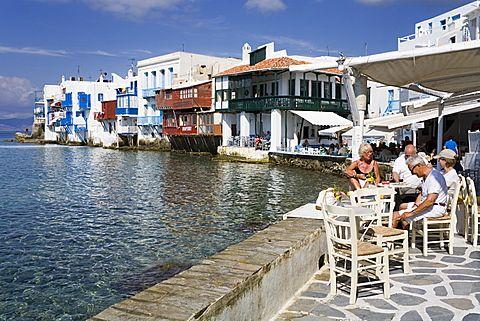 Pequeña Venecia en Mykonos Town, isla de Mykonos, Cícladas, Islas Griegas, Grecia, Europa