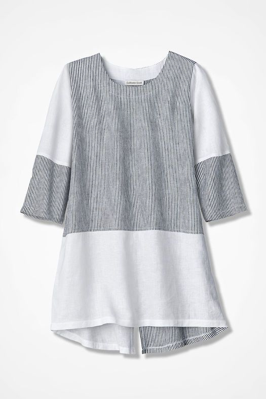 Pattern Block Linen Tunic, Black/White, large | Outfits | Pinterest ...