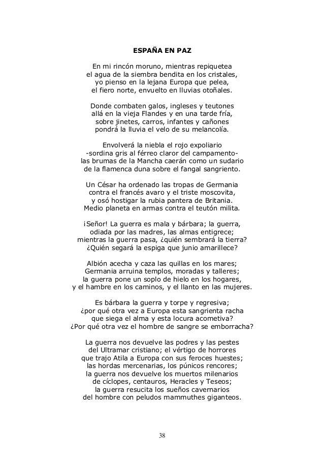 """Segunda etapa: Poesía Historicista. """"España en paz"""" es una poema que forma parte de """"Campos de Castilla"""" (1912). Lo hemos escogido porque habla sobre la guerra que estaba ocurriendo en Europa, además se aprecia la poesía descriptiva de esta etapa."""