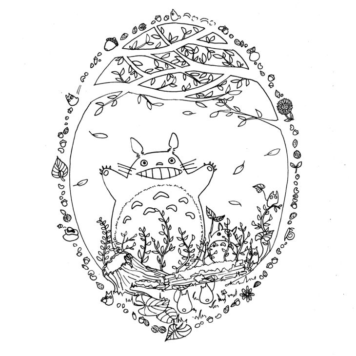 Art therapy for adults - Free printable coloring page for grown ups - Totoro in the forest - Dessin à imprimer gratuit - Coloriage anti-stress pour adultes