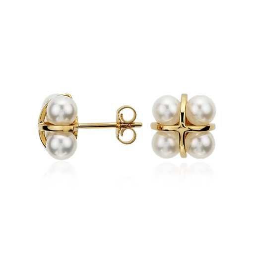 Freshwater Cultured Pearl Cluster Earrings in 14k Yellow Gold #fk #fashionkiosk #jewellery