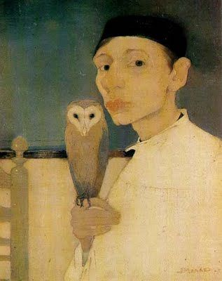 Jan Mankes' self-portrait with his pet owl