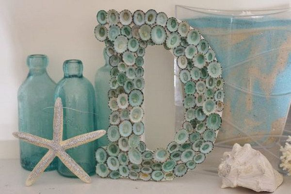 Aqua Seashell Letter Monogram.