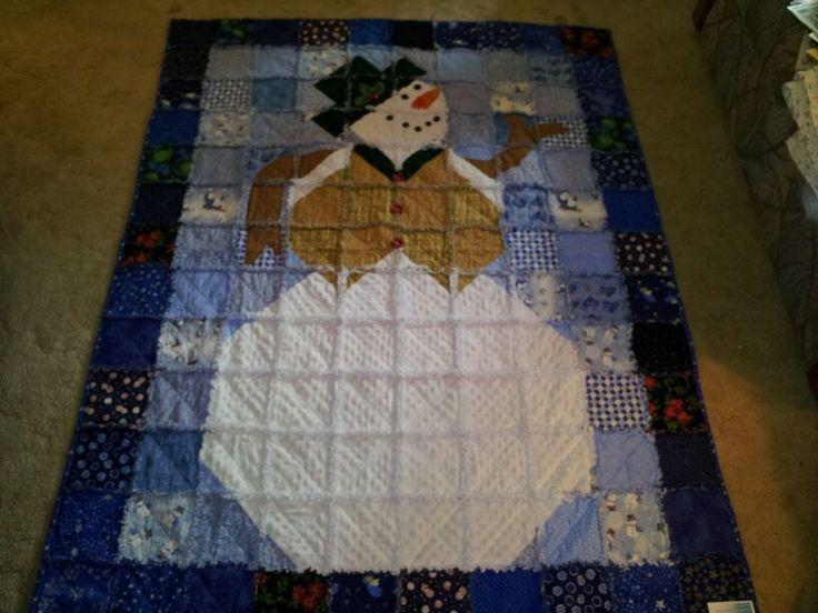 122 best jean quilts images on Pinterest | Craft, Flannel rag ... : snowman rag quilt pattern - Adamdwight.com