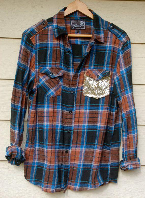 The Boyfriend Hipster Dazzle Flannel w/Sequin by ICaughtTheSun, $45.00