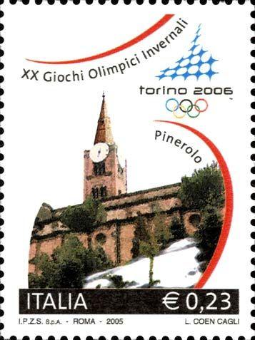 """2005 - XX Giochi Olimpici Invernali """"Torino 2006"""" - Pinerolo, il campanile gotico della Chiesa di San Maurizio"""