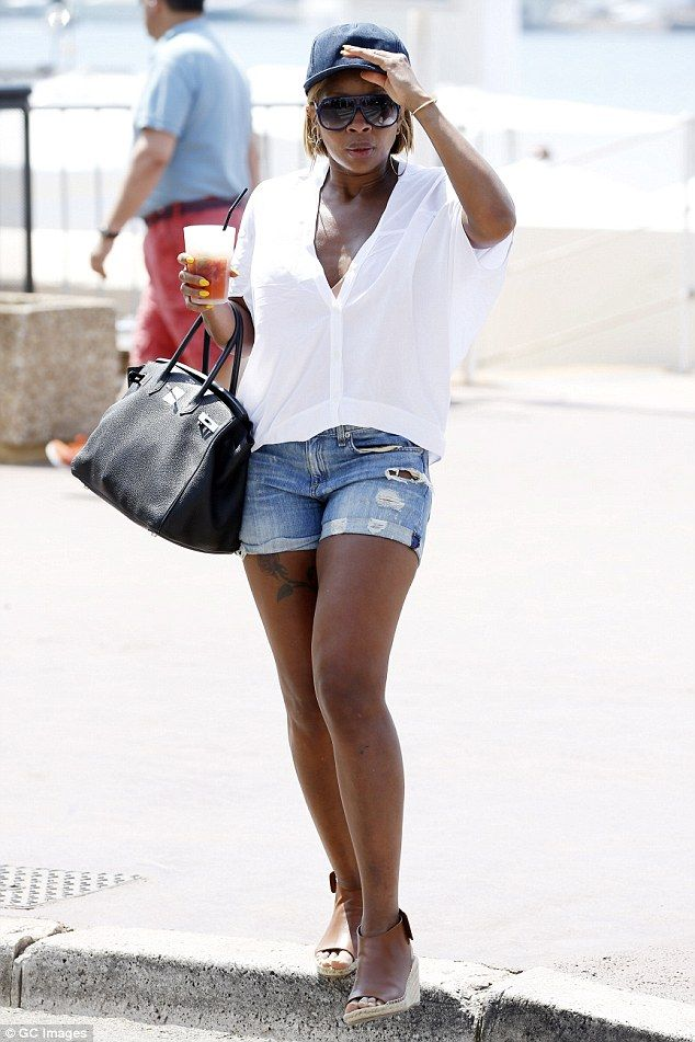 Just Fine: Mary J Blige looked incredible as she walked down La Croisette in Cannes on Tuesday wearing denim shorts and wedges