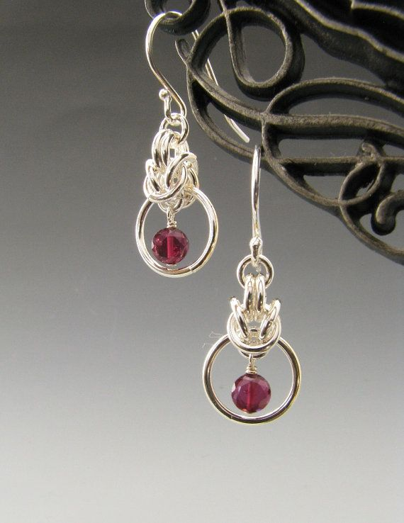 Sterling Silver Byzantine Drop Chainmail Earrings with Garnet