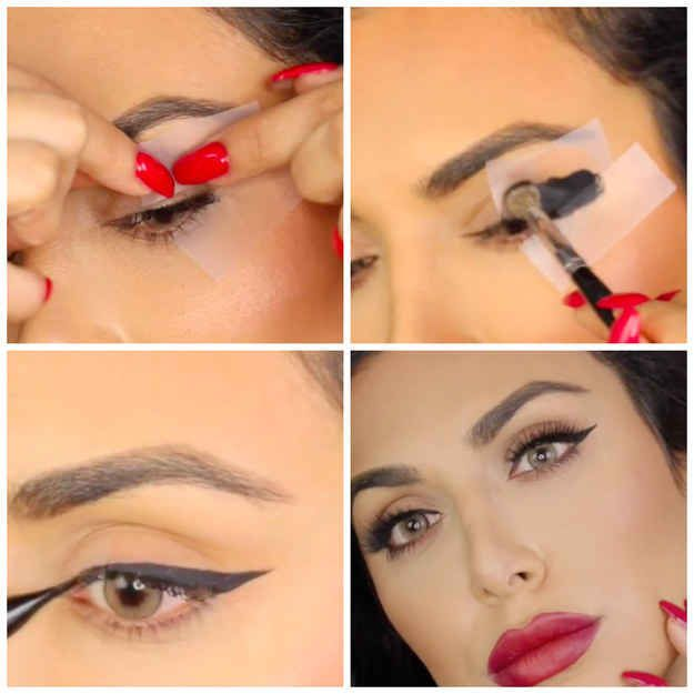 Use tape to get uniform eyeliner, sharp enough to kill a man.