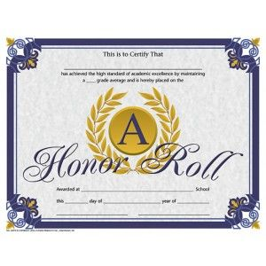 Honor Roll Certificate! 30/pack   Downloadable templates available to personalize or can be handwritten.