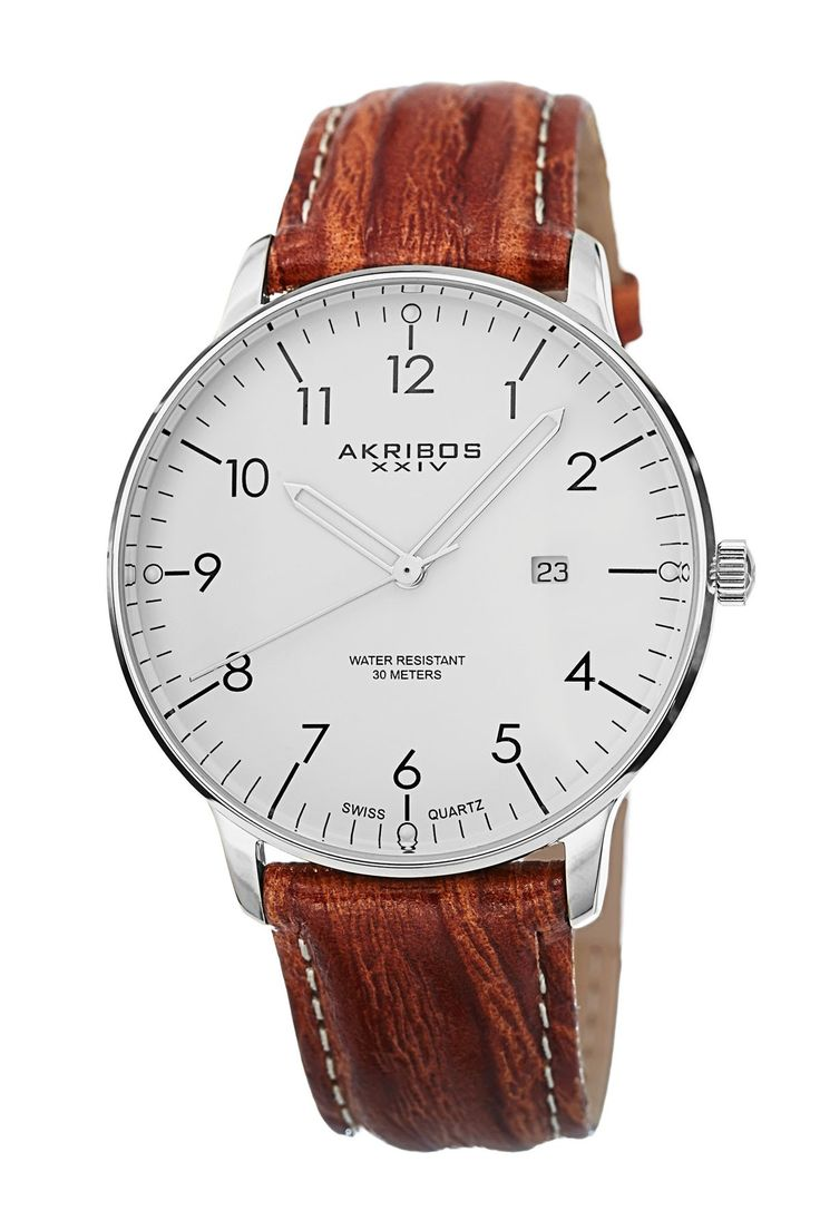 Men's Date Strap Swiss Quartz Watch by Akribos XXIV on @nordstrom_rack
