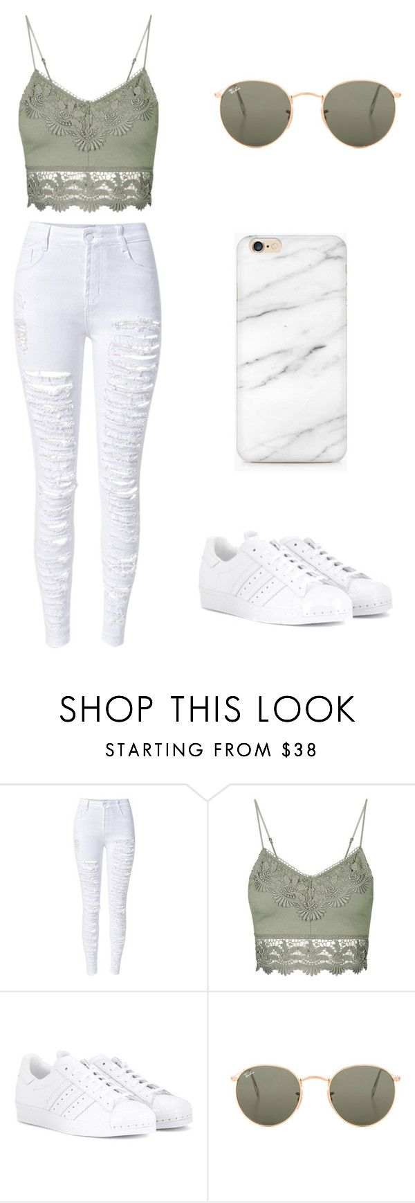 """""""Sem título #2"""" by nicmd ❤ liked on Polyvore featuring WithChic, Topshop, adidas and Ray-Ban"""