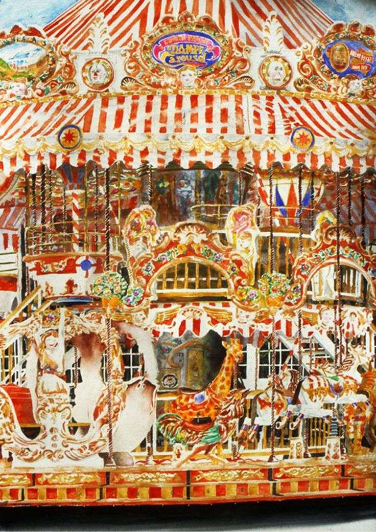 "giraffe carousel arles 40"" x 26""  micheal zarowsky / watercolour on arches paper / (private collection)"