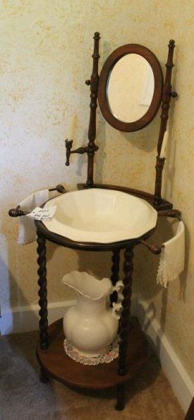 VINTAGE WASH STAND WITH MIRROR, PITCHER AND BOWL.
