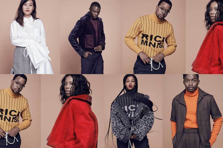 Trevor Stuurman, Etienne Tshiswaka, Thithi Nteta, Lulama Wolf,Kelly Fung and Thithi Nteta in the latest CMYK series wearing Rich Mnisi's AW16 Collection: